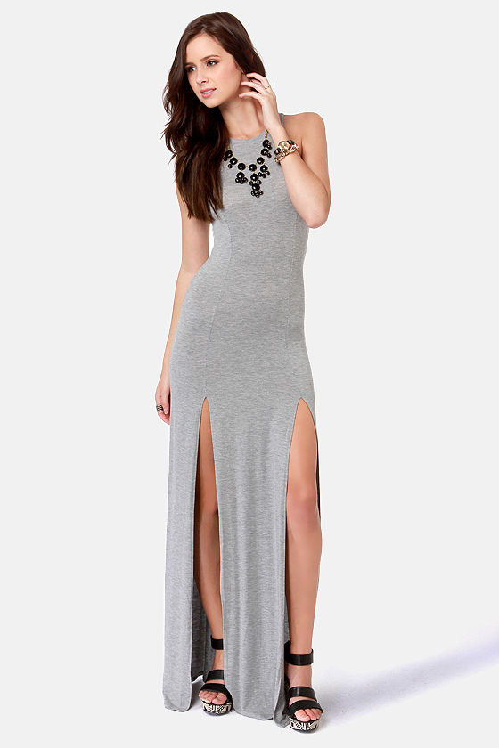 Cute Grey Dress - Maxi Dress - Racerback Dress - $41.00