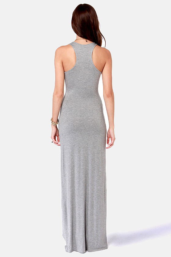 Stem Spells Grey Racerback Maxi Dress at Lulus.com!