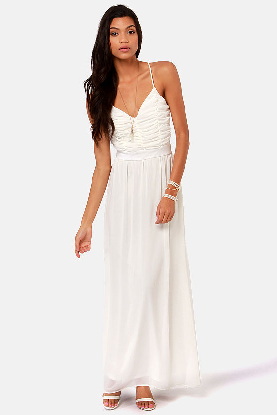 LULUS Exclusive Veranda Views Ivory Backless Maxi Dress at Lulus.com!