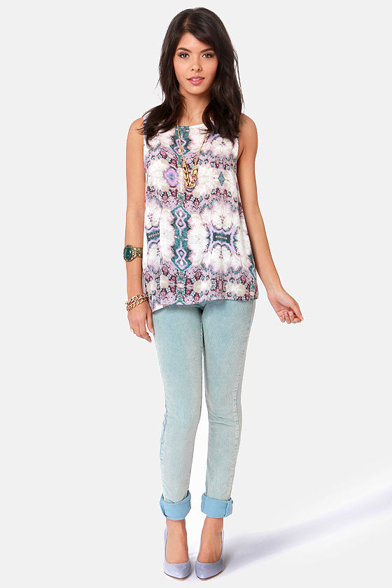 BB Dakota by Jack Rattley Lavender Print Top at Lulus.com!