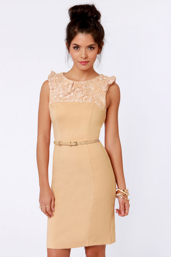 Darling Dominique Belted Nude Lace Dress at Lulus.com!