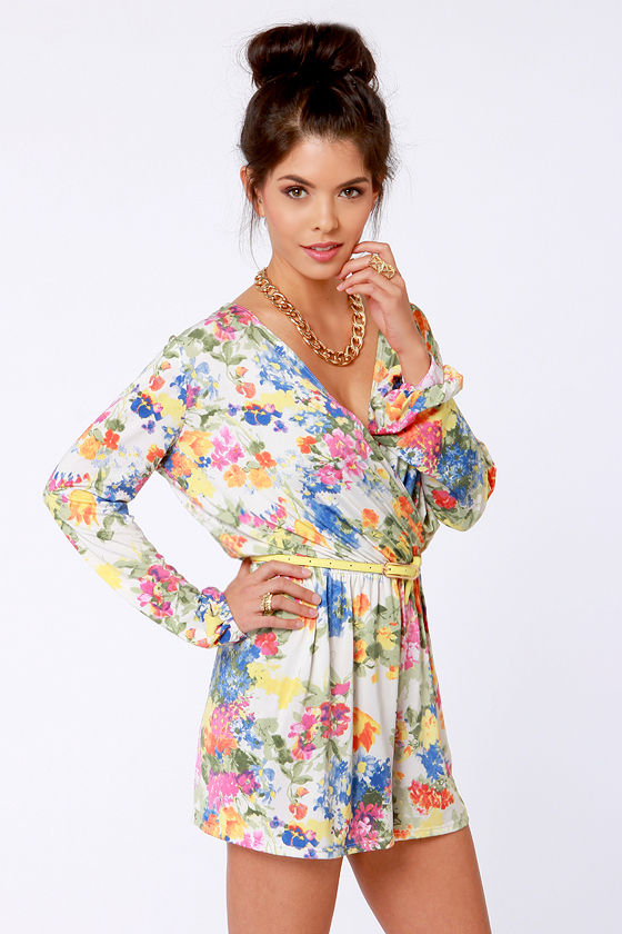 Camellia-on Club Ivory Floral Print Romper at Lulus.com!
