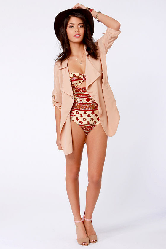 Mink Pink Maya Red Print One Piece Swimsuit at Lulus.com!