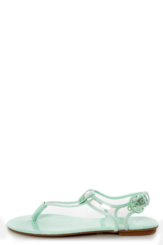 e86bc8171 Chinese Laundry Natalia Clear and Pale Mint Thong Sandals -  47.00