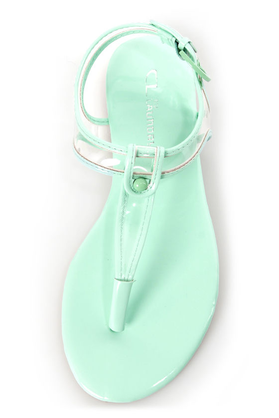 Chinese Laundry Natalia Clear and Pale Mint Thong Sandals at Lulus.com!