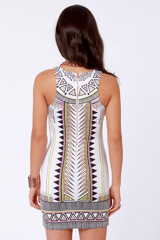 Mink Pink Techno Tribe White Print Dress at Lulus.com!