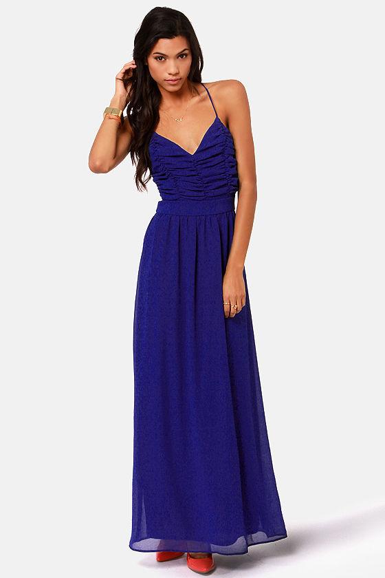 LULUS Exclusive Veranda Views Royal Blue Backless Maxi Dress at Lulus.com!