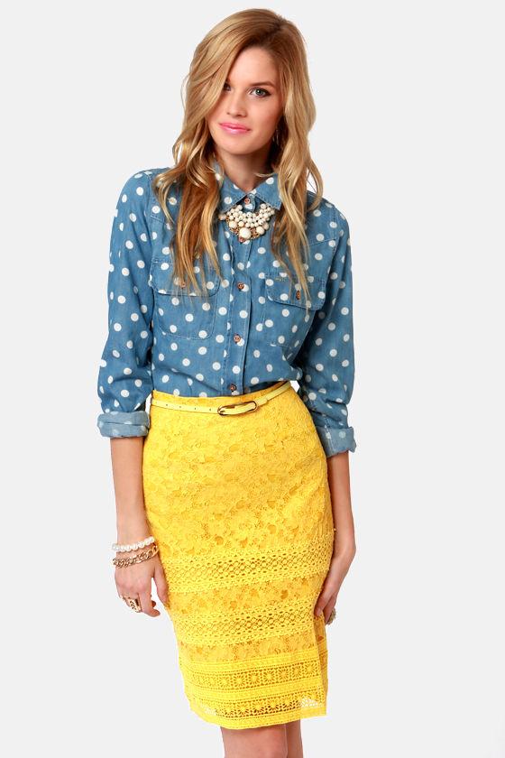 d1d8a483014b Pretty Yellow Skirt - Lace Skirt - Pencil Skirt - $75.00