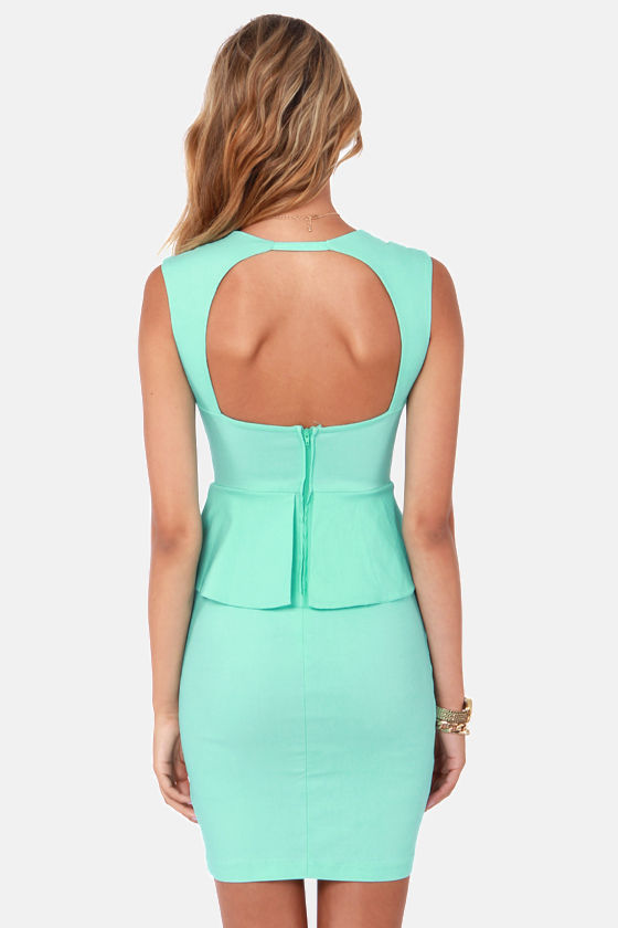 Pass the Pep-er Light Blue Peplum Dress at Lulus.com!