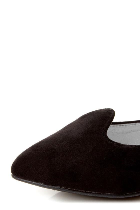 Velma 01 Black Smoking Slipper Pointed Flats at Lulus.com!