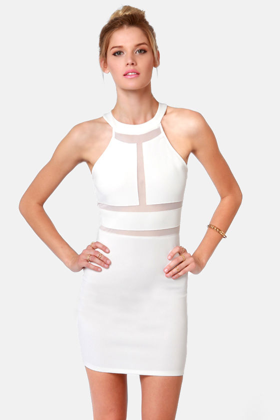 Watch Sheer Back Ivory Cutout Dress at Lulus.com!