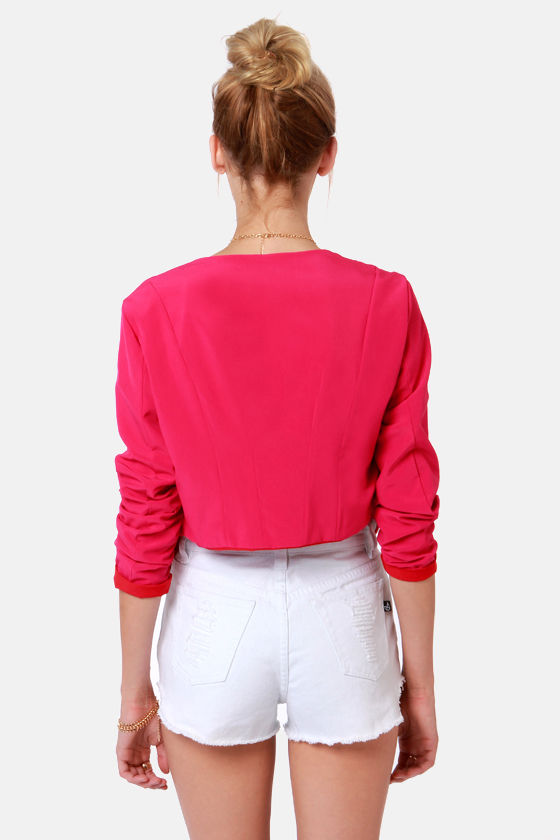 Lucy Love Soft Fuchsia Pink Cropped Jacket at Lulus.com!