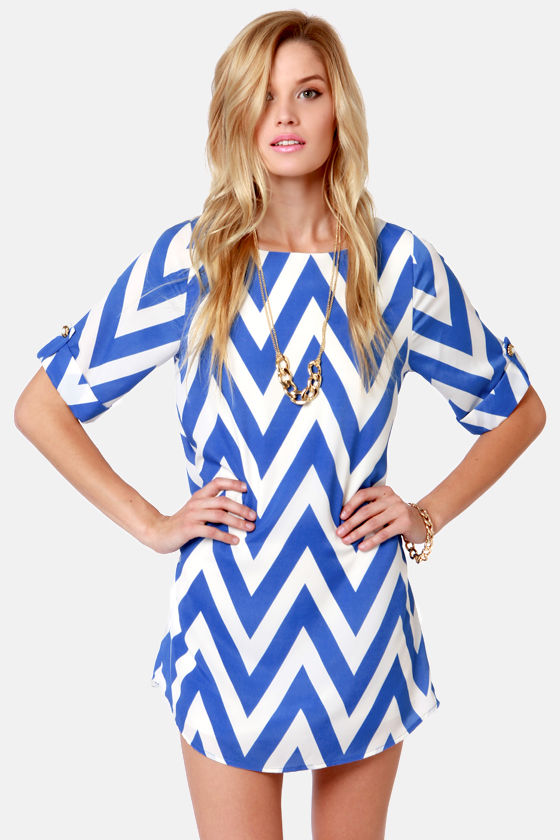 Cute Blue Dress - Shift Dress - Chevron Print Dress - $46.00