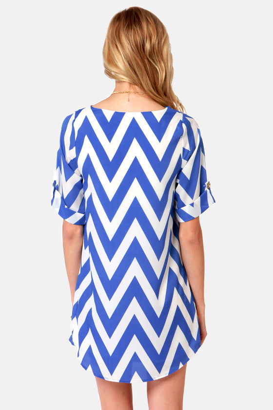 Can You Zig It? Blue Chevron Print Dress at Lulus.com!