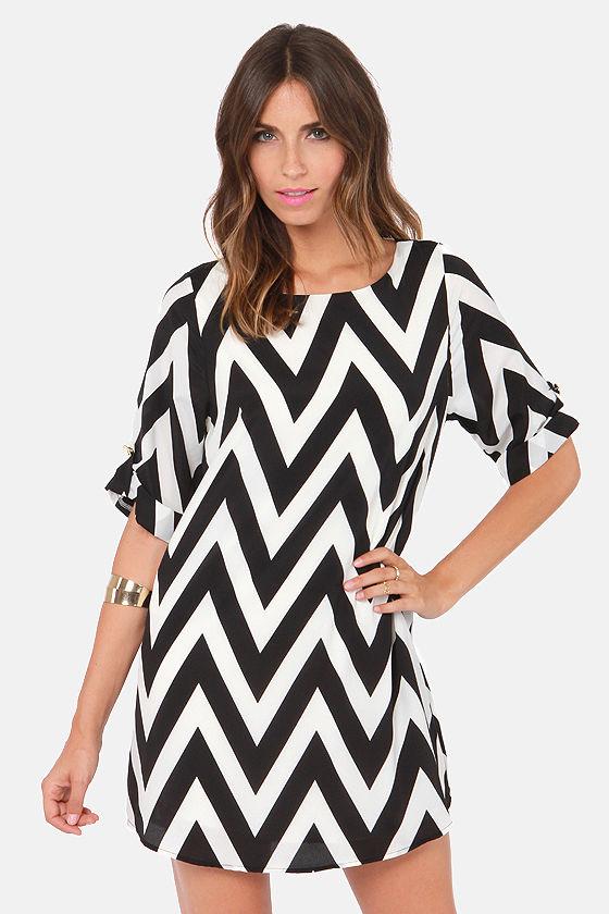 761a01b0ede5 Cute Black and White Dress - Shift Dress - Chevron Print Dress -  46.00