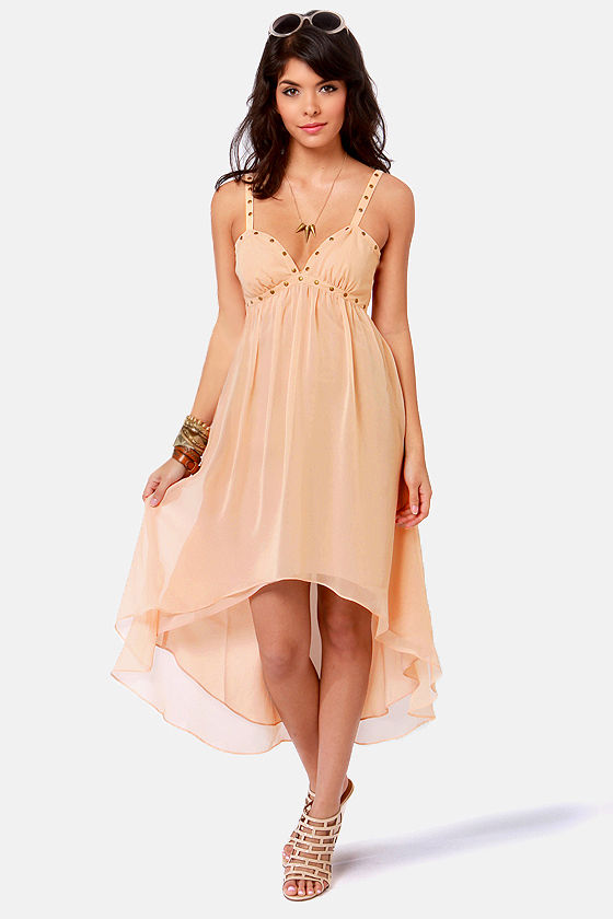 Ladakh Swansten Studded Beige Dress at Lulus.com!