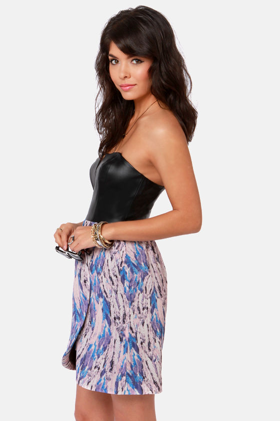 Ladakh Rococo Strapless Black and Purple Print Dress at Lulus.com!
