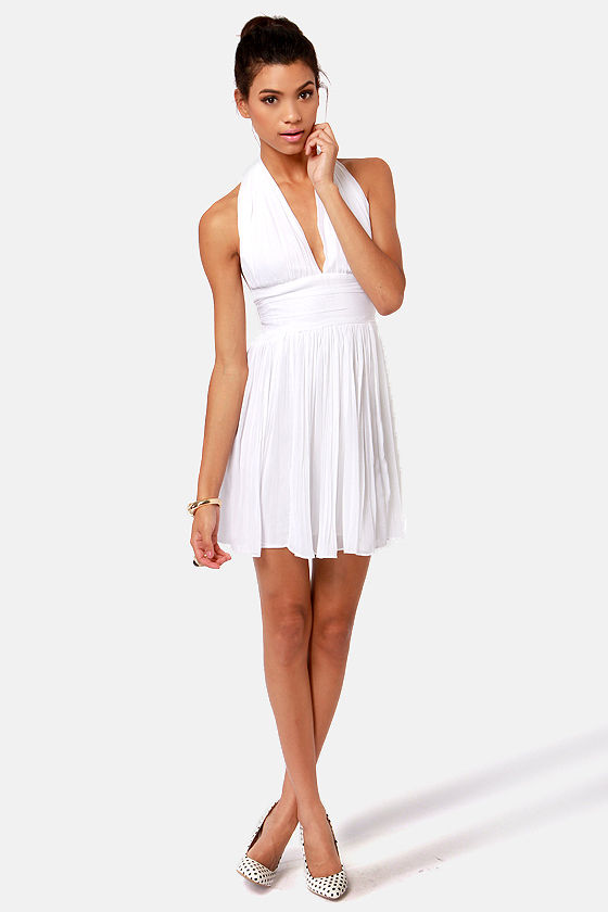 BB Dakota Graciela White Halter Dress at Lulus.com!