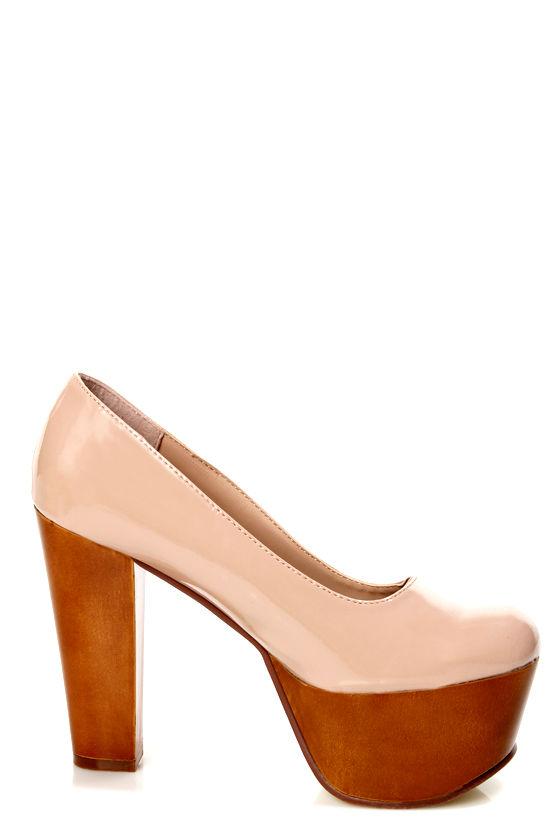 Gaga 1 Blush Patent Mega Platform Heels at Lulus.com!