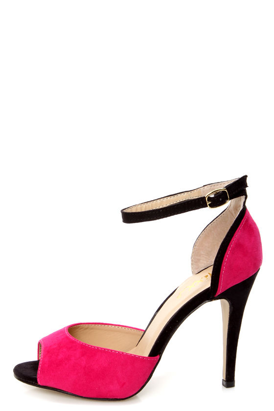 Mixx Shuz Sheila Fuchsia and Black Two Piece Peep Toe Heels at Lulus.com!