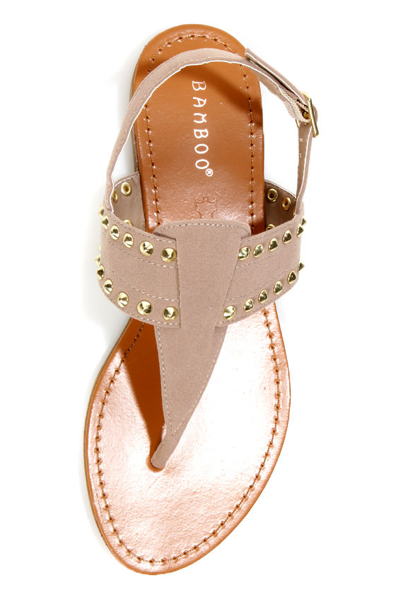 Bamboo Steno 62 Nude Studded Thong Sandals at Lulus.com!