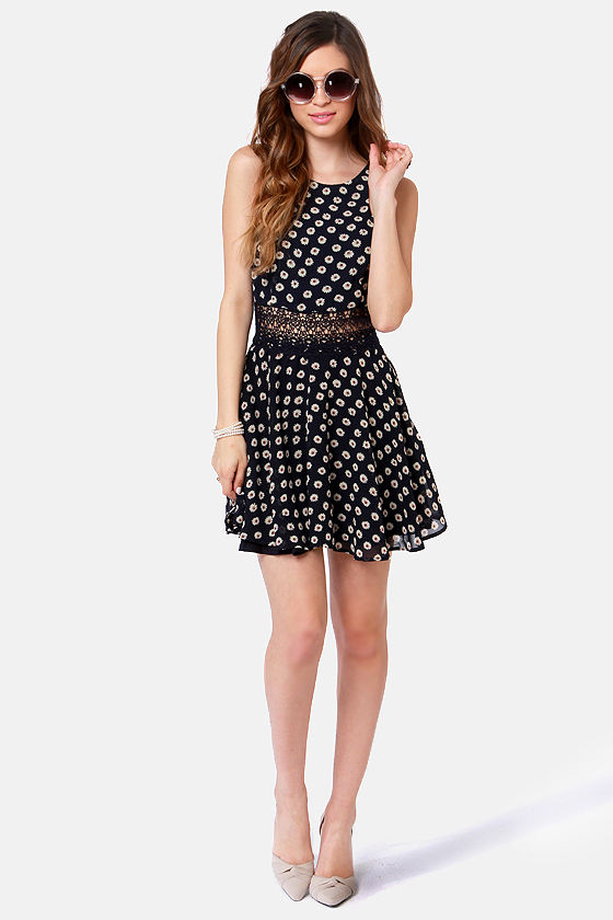Lucca Couture Daisy Dear Navy Blue Floral Print Dress at Lulus.com!