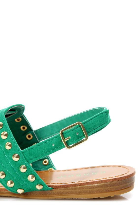 Bamboo Steno 62 Sea Green Studded Thong Sandals at Lulus.com!
