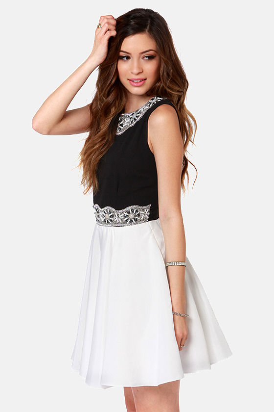 TFNC Rita Sue Beaded Black and White Dress at Lulus.com!