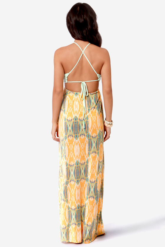 O'Neill Nyla Mint and Orange Print Maxi Dress at Lulus.com!