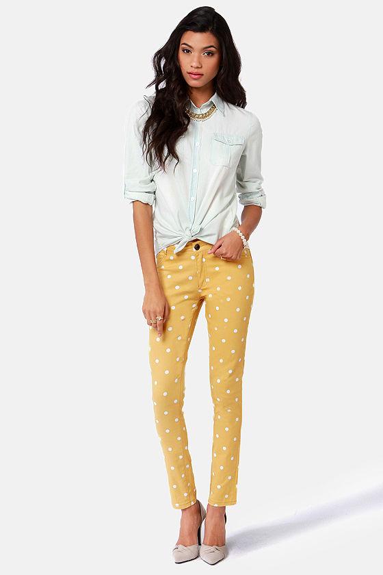 ad0dee19e Cute Yellow Pants - Polka Dot Jeggings -  53.00