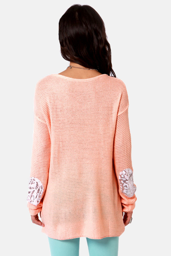 Patch Me if You Can Peach Sequin Sweater at Lulus.com!