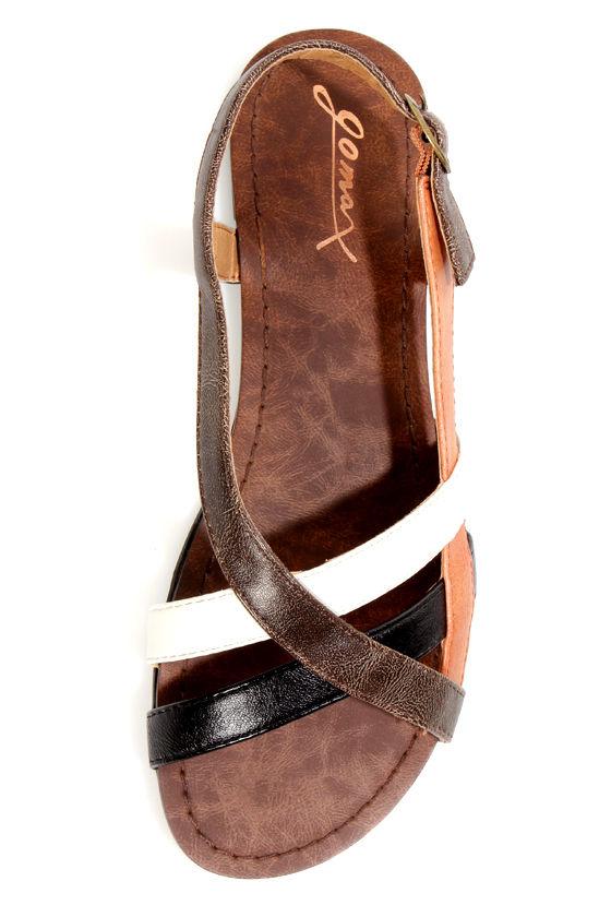 GoMax Berdine 90 Tan Multi Strappy Flat Sandals at Lulus.com!