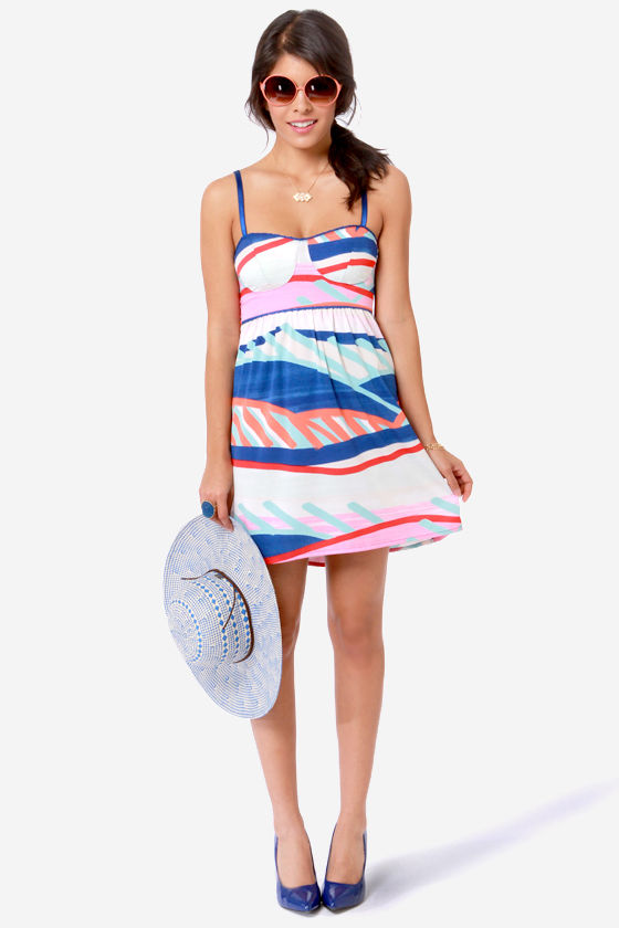 Roxy Buried Shell Multi Print Bustier Dress at Lulus.com!