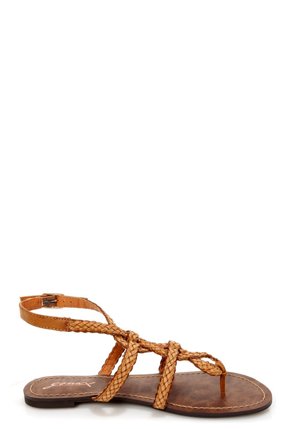 GoMax Berdine 92 Tan Braided Strappy Gladiator Sandals at Lulus.com!