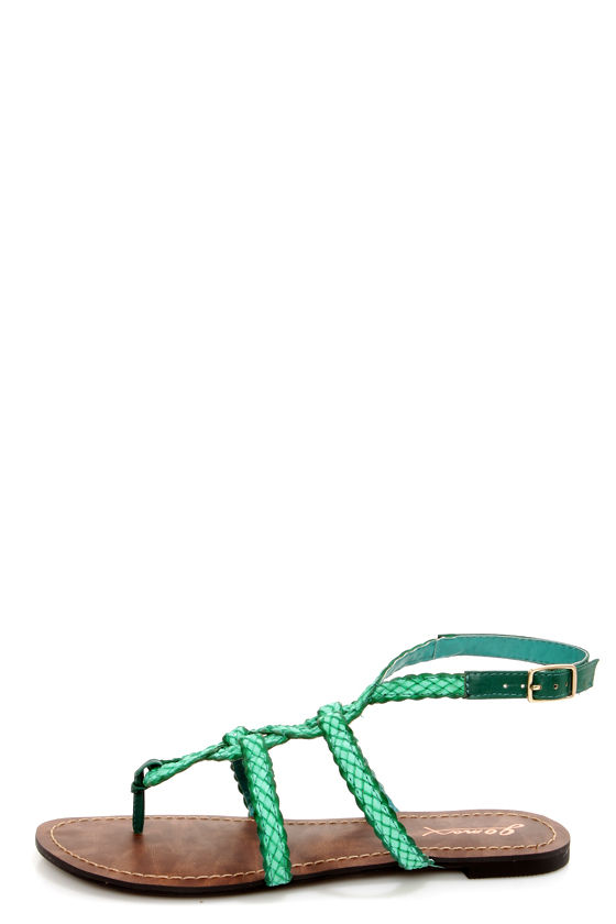 GoMax Berdine 92 Teal Braided Strappy Gladiator Sandals at Lulus.com!