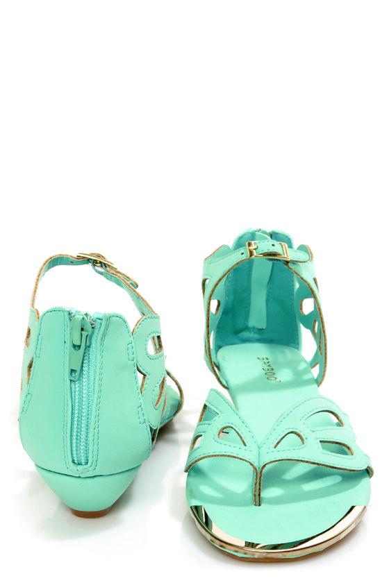Bamboo Dalinda 30 Mint Scalloped Cutout Thong Sandals at Lulus.com!