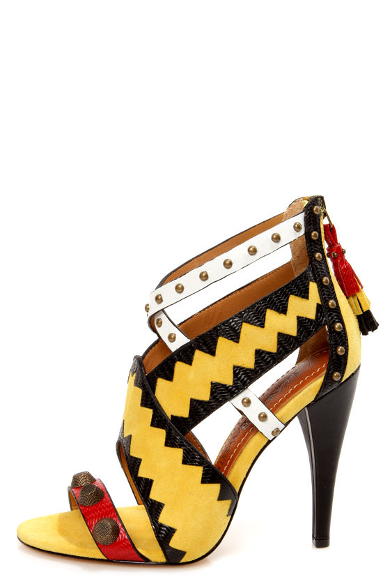 Blonde Ambition Renata Dijon Yellow Strappy Studded Sandals - $179.00