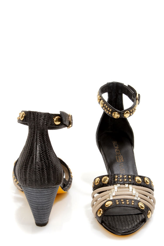 Blonde Ambition Sobra Black and Taupe Studded Sandals at Lulus.com!