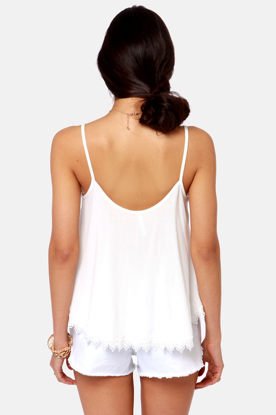 Take a Chance White Lace Tank Top at Lulus.com!