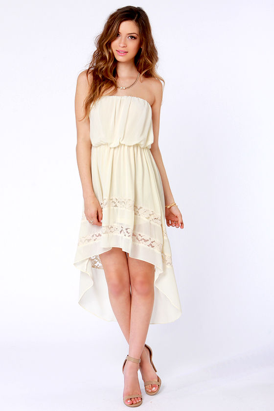Cute Strapless Dress - Cream Dress - High-Low Dress - $35.00