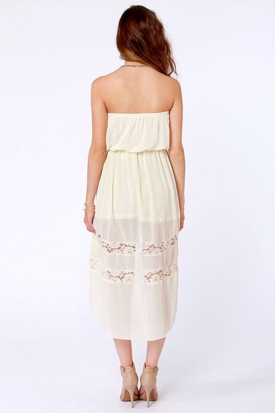 High-Low, How Are You? Strapless Cream Dress at Lulus.com!