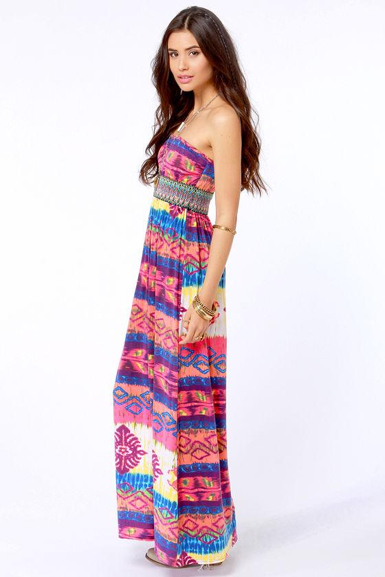 Gypsy Junkies Talulah Strapless Print Maxi Dress at Lulus.com!
