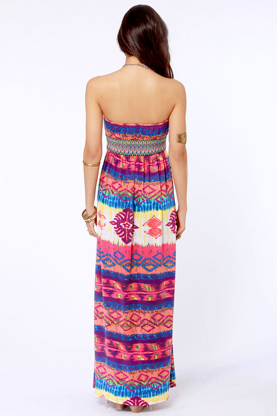 Gypsy Junkies Talulah Strapless Print Maxi Dress at Lulus.com!