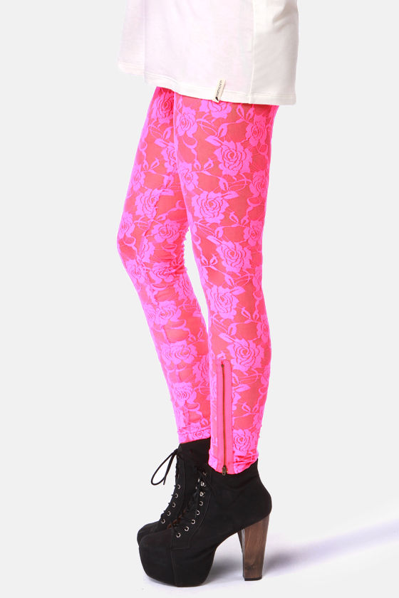 Gypsy Junkies Neon Pink Lace Leggings at Lulus.com!
