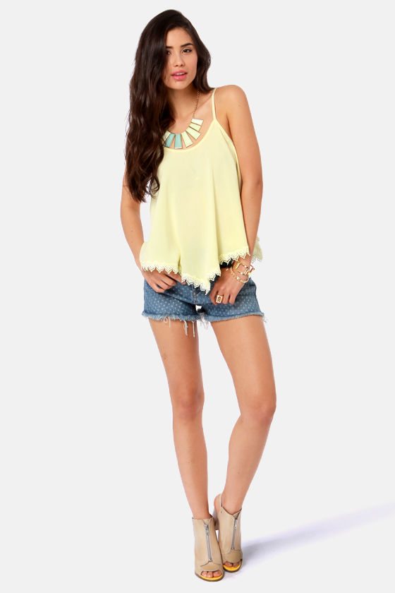 Take a Chance Pale Yellow Lace Tank Top at Lulus.com!