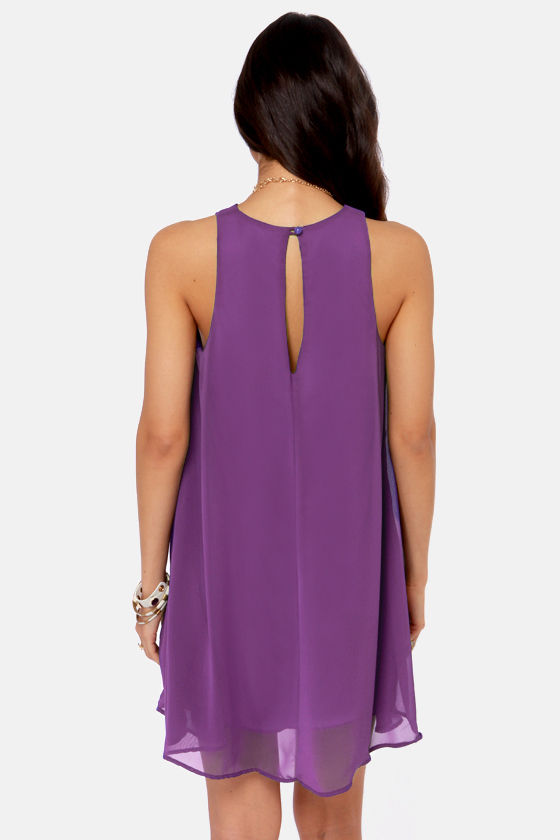 Chiff-On the Run Purple Dress at Lulus.com!