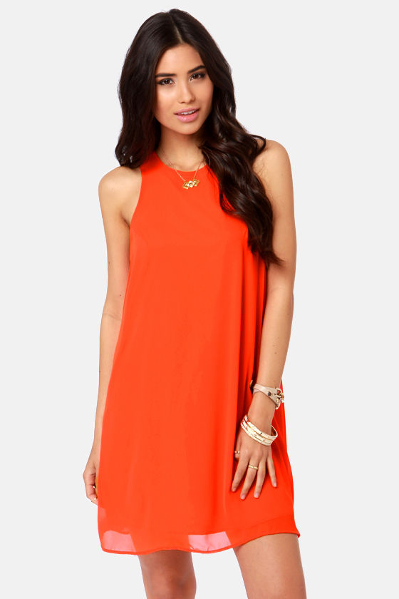 Cute Orange Dress Chiffon Dress Shift Dress 3700