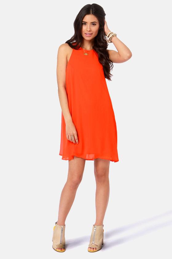 Chiff-On the Run Orange Dress at Lulus.com!