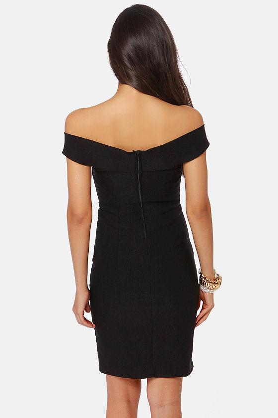 She's a Knockout Off-the-Shoulder Black Dress at Lulus.com!