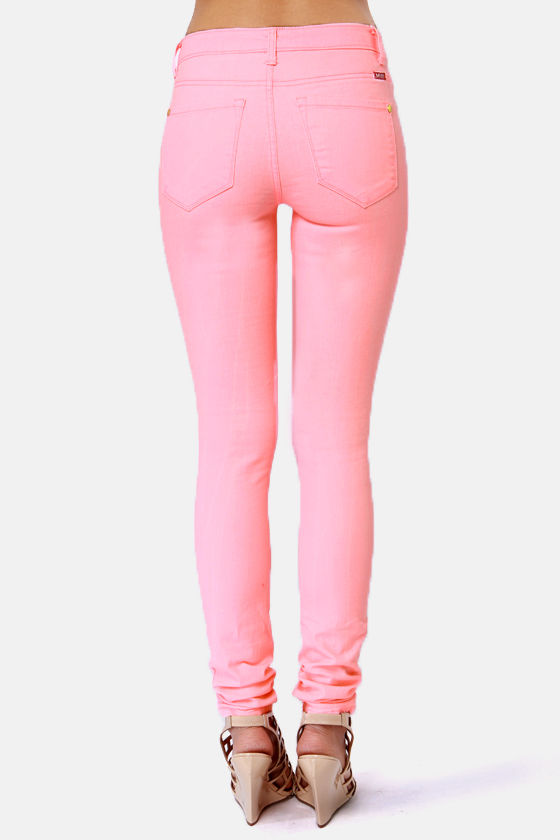 Moto Braxton Neon Pink Skinny Jeans at Lulus.com!